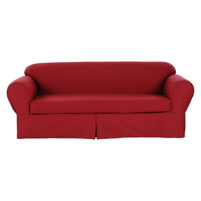 Loveseat Slipcover Upholstery: Red