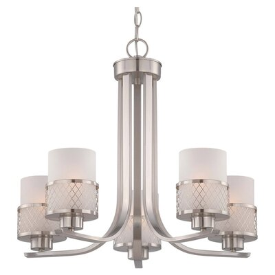 Lofton 5-Light Shaded Chandelier Finish / Glass Color: Brushed Nickel / Frosted