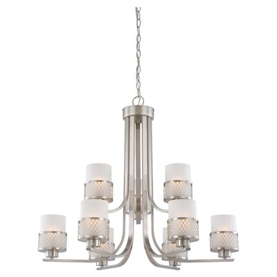 Lofton 9-Light Shaded Chandelier Finish / Glass Color: Brushed Nickel / Frosted