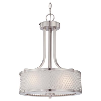 Lofton 3-Light Drum Pendant Finish / Glass Finish: Brushed Nickel / Frosted