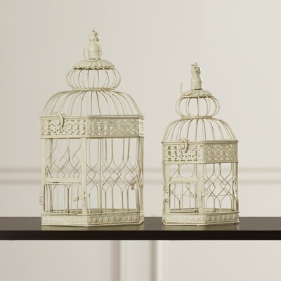 2 Piece Decorative Metal Bird Cage Set