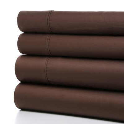 Lashbrook 620 Thread Count Egyptian Quality Cotton Sheet Set Size: Full, Color: Brown