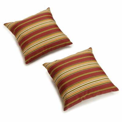 Dewald Outdoor Throw Pillow Color: Kingsley Stripe Ruby