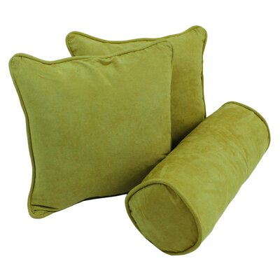 Broadwell Throw and Bolster Pillow Set Color: Mojito Lime