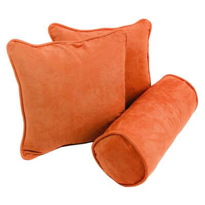 Broadwell Throw and Bolster Pillow Set Color: Tangerine Dream