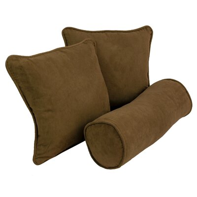 Broadwell 3 Piece Throw and Bolster Pillow Set Color: Chocolate