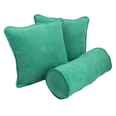 Broadwell 3 Piece Throw and Bolster Pillow Set Color: Emerald