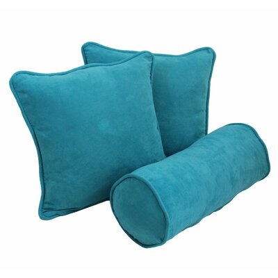 Broadwell Throw and Bolster Pillow Set Color: Aqua Blue