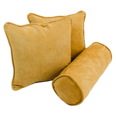 Broadwell 3 Piece Throw and Bolster Pillow Set Color: Lemon