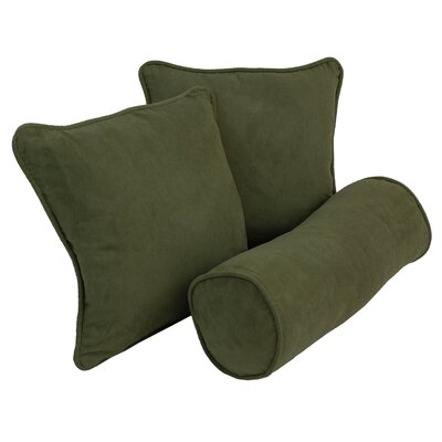 Broadwell Throw and Bolster Pillow Set Color: Hunter Green