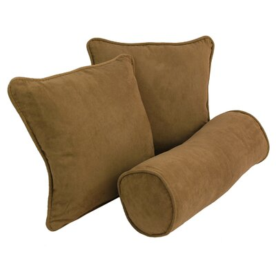 Broadwell Throw and Bolster Pillow Set Color: Saddle Brown