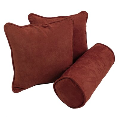 Broadwell Throw and Bolster Pillow Set Color: Red Wine