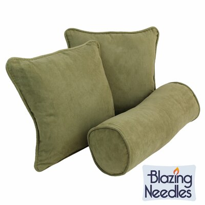 Broadwell 3 Piece Throw and Bolster Pillow Set Color: Sage