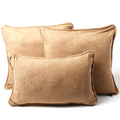 Galbraith 3 Piece Microsuede Throw Pillow Set Color: Saddle Brown