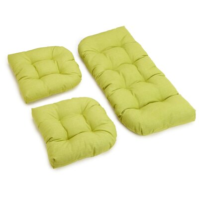 3 Piece Outdoor Bench and Dining Chair Cushion Set Color: Lime