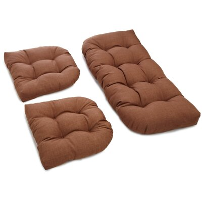 3 Piece Outdoor Bench and Dining Chair Cushion Set Color: Mocha