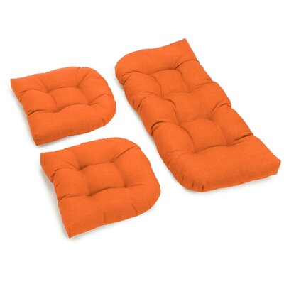 3 Piece Outdoor Bench and Dining Chair Cushion Set Color: Tangerine Dream