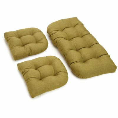 3 Piece Outdoor Bench and Dining Chair Cushion Set Color: Avocado