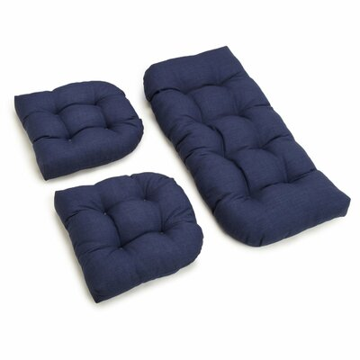 3 Piece Outdoor Bench and Dining Chair Cushion Set Color: Azul