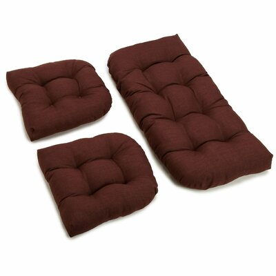 3 Piece Outdoor Bench and Dining Chair Cushion Set Color: Cocoa