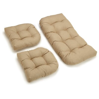 3 Piece Outdoor Bench and Dining Chair Cushion Set Color: Sandstone