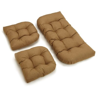 3 Piece Outdoor Bench and Dining Chair Cushion Set Color: Wheat