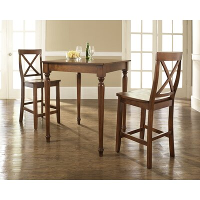 Bogdan 3 Piece Pub Table Set Color: Classic Cherry