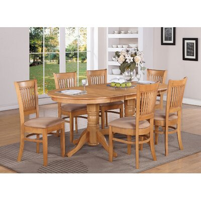 Rockdale 7 Piece Dining Set Finish: Oak, Upholstery: Microfiber Cushion
