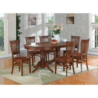 Rockdale 7 Piece Dining Set Finish: Espresso, Upholstery: Microfiber Cushion