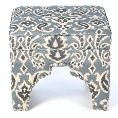 Countess Ottoman Upholstery: Blue /  Grey and Off White