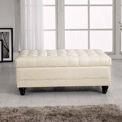 Dail Tufted Storage Ottoman Upholstery: Creamy White