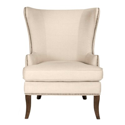 Lamberth Wing Genuine Leather Upholstered Dining Chair in Oatmeal Linen