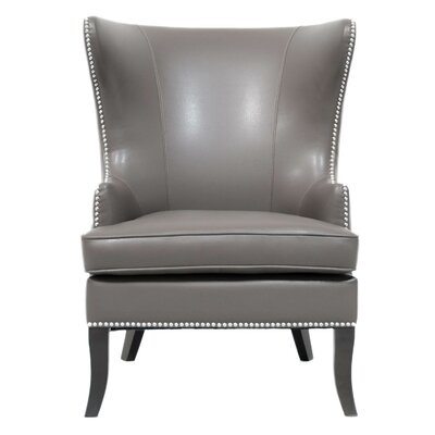 Lamberth Wing Genuine Leather Upholstered Dining Chair in Pebble Leather