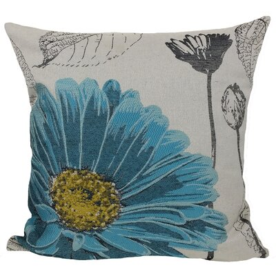 Krauss Flower Embroidery Throw Pillow Color: Blue
