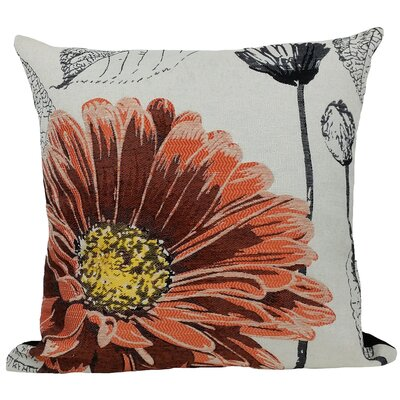 Krauss Flower Embroidery Throw Pillow Color: Coral