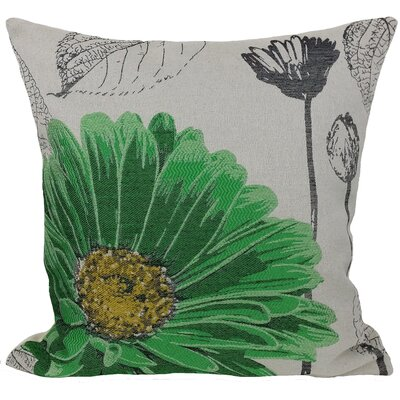 Krauss Flower Embroidery Throw Pillow Color: Green