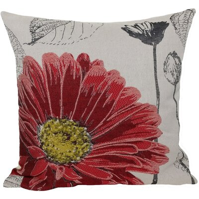 Krauss Flower Embroidery Throw Pillow Color: Red