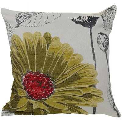 Krauss Flower Embroidery Throw Pillow Color: Yellow