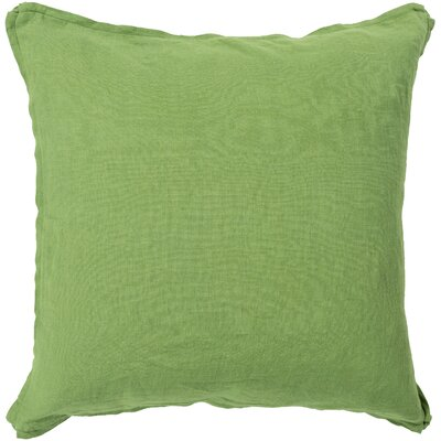 Matherne Linen Throw Pillow Size: 18, Color: Green, Filler: Down
