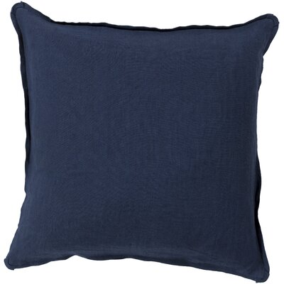 Matherne Linen Throw Pillow Size: 18, Color: Dark Blue, Filler: Down