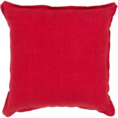 Matherne Linen Throw Pillow Size: 22, Color: Red, Filler: Down