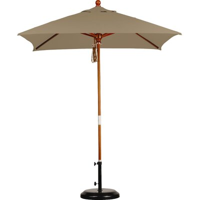 Darby Home Co Grundy 6' x 6' Wood Market Umbrella Fabric: Sunbrella AA Sesame Linen