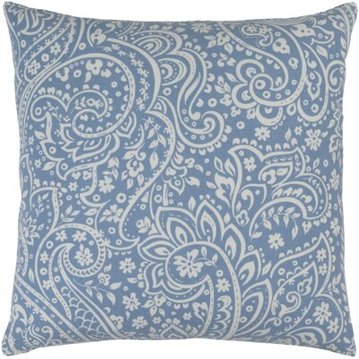 Hoyleton Cotton Throw Pillow Size: 22 H x 22 W x 4 D, Color: Denim/Ivory