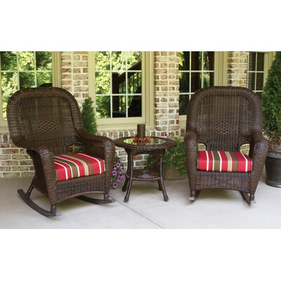 Fleischmann 3 Piece Rocker Seating Group with Cushions Finish: Java, Fabric: Monserrat Sangria