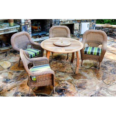 Fleischmann 5 Piece Dining Set with Cushions Fabric: Echo Stripe Truffle, Wicker Finish: Tortoise