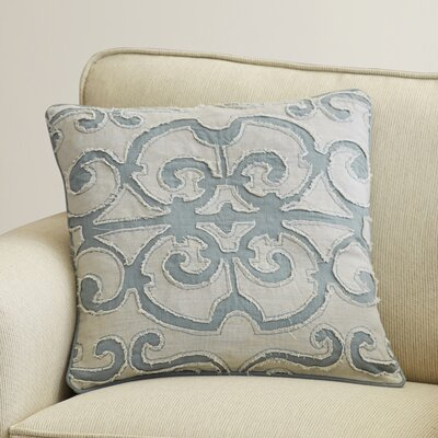 Rushford Linen Throw Pillow Size: 18 H x 18 W x 4 D, Color: Sky Blue/Light Gray, Filler: Polyester