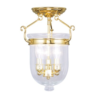 Lauder 3-Light Semi Flush Mount Size: 14 H x 10 W x 10 D, Finish: Polished Brass