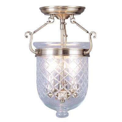 Lauder 3-Light Semi Flush Mount Size: 17 H x 12 W x 12 D, Finish: Antique Brass