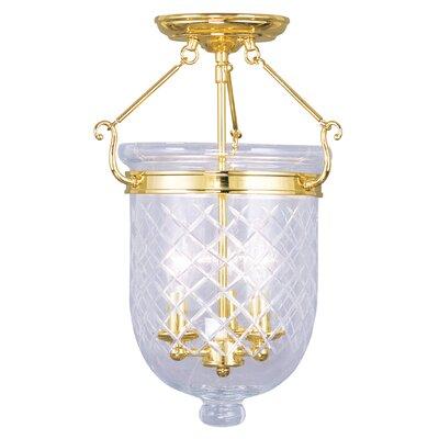 Lauder 3-Light Semi Flush Mount Size: 14 H x 10 W x 10 D, Finish: Polished Brass
