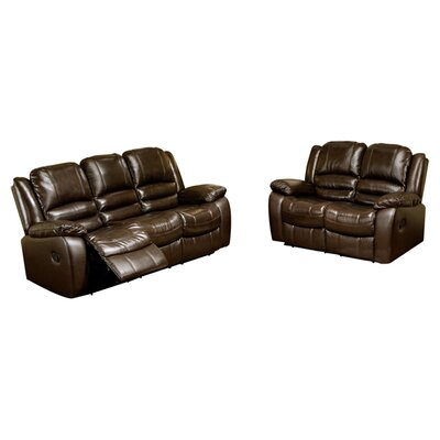 Darby Home Co DBHC6883 27934194 Jorgensen Leather Sofa and Loveseat Set